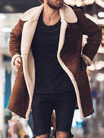 Mid-Length Color Block Lapel A Line Casual Coat