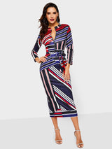 Stand Collar Mid-Calf Three-Quarter Sleeve Date Night/Going Out Bodycon Dress
