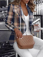 Plaid Long Sleeve Notched Lapel Spring Regular Casual Blazer