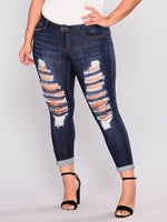 Hole Plain Zipper Skinny Jeans
