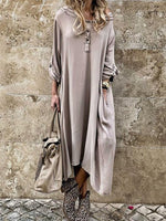 Pocket Long Sleeve Mid-Calf Plain Regular Dress