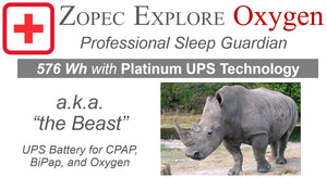 Zopec Explore Oxygen UPS CPAP Battery (160,000 mAh, Platinum UPS Level) - 2021 Model!