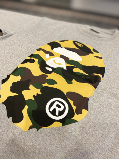 BAPE CAMO YELLOW TEE GREY