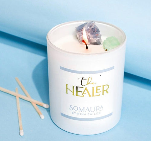 Crystal Soy Candle - The Healer by Nina Bailey Luxury Collection