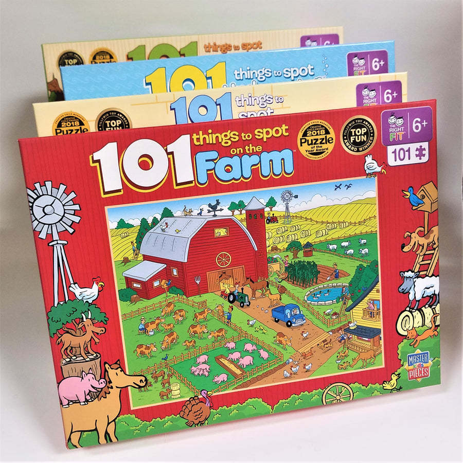 Fanned out display of 4, 101 things to spot puzzles. The on on top has a red border and features a red barn with colorful fields and farm animals.