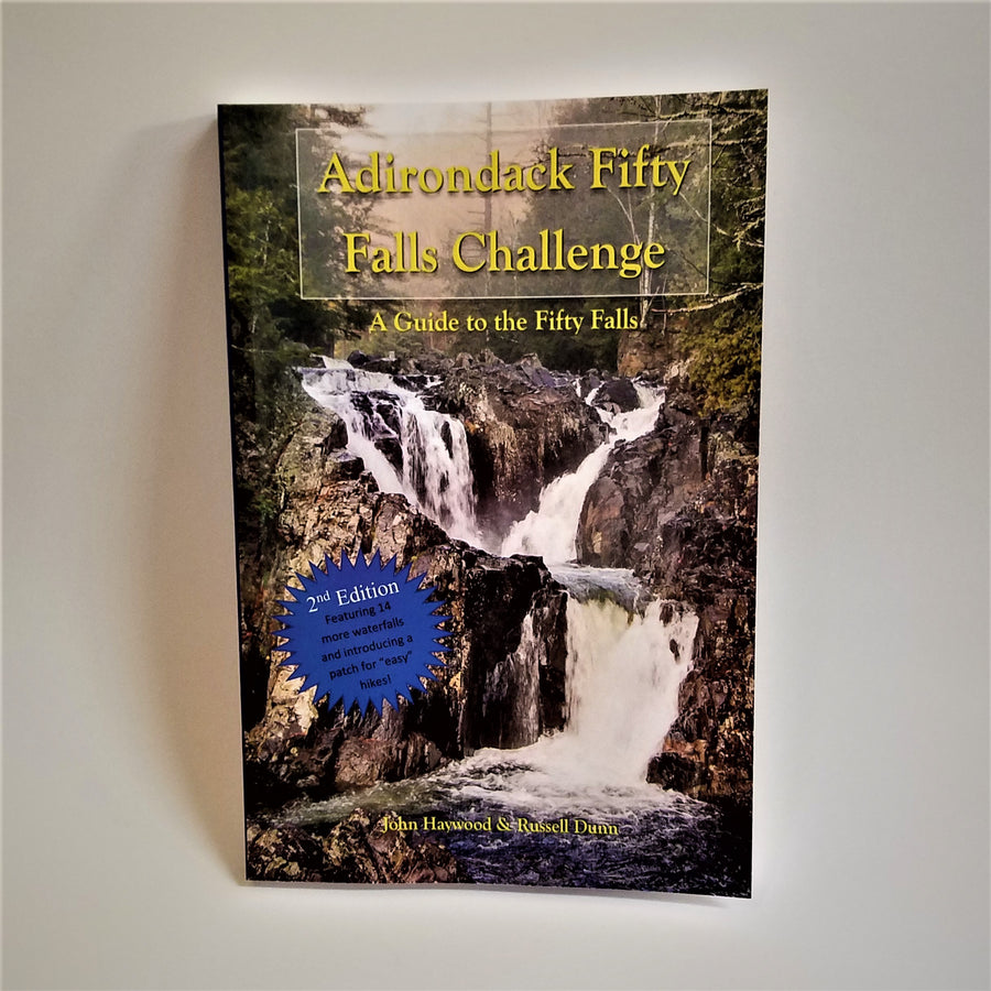 Book cover featuring a colorful photo of one of the Adirondack Falls Challenges