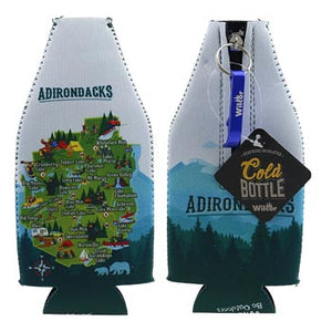 Front and back of the bottle suit. The front is on the left featuring the signature Adirondacks map with a dark green bottom and white background n top. The suit is flipped on the right to show the zipper, bottle opener and key ring. The back only has mountain greenery and blue mountain background. There is a black label with the lettering Cold Bottle obstructing the work Adirondacks on the back.