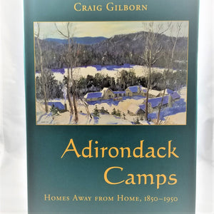 Book cover featuring an Adirondack Great Camp in winter