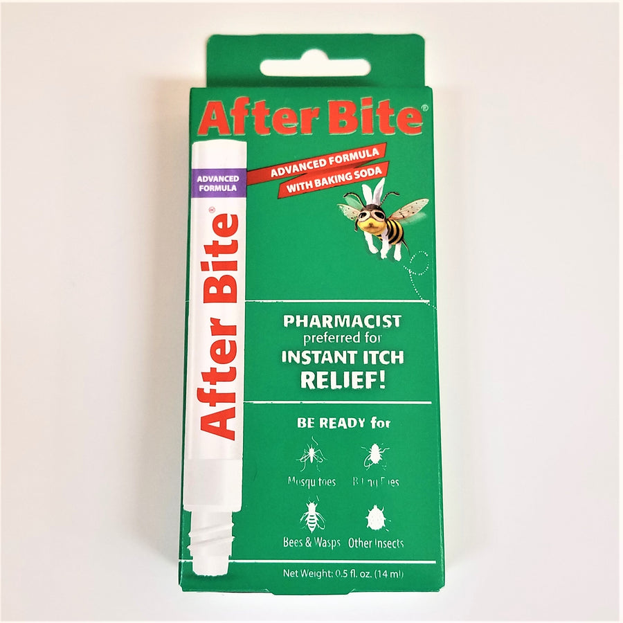 Green box with illustration of white tube of After Bite and an exhausted bee.