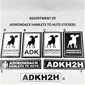Black and white stickers--4 vertically oriented stickers with Moose on them and 3 horizontal oriented stickers with Hamlets to Huts lettering
