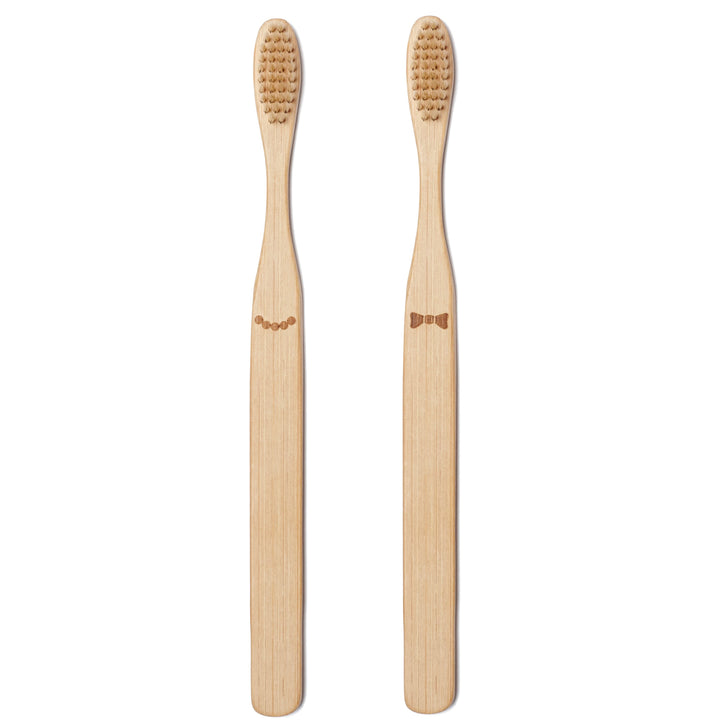 His Her Bamboo Toothbrush Set