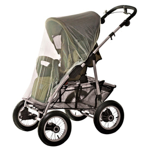 Baby stroller with green mosquito netting over the front.
