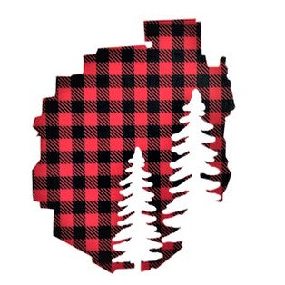Decal of the Adirondack Park boundaries in buffalo plaid with two pine trees in white on the bottom right