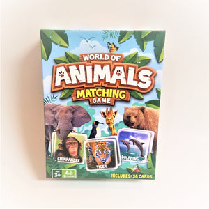 Cover of the World of Animals Matching Game box. 3 sample animal cards depicted along with an elephant, penguin, giraffe and bear.