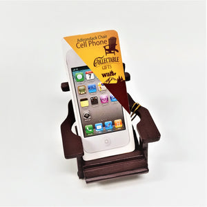 front view of manufacturer's label on mini deep maroon Adirondack chair made for holding an iphone