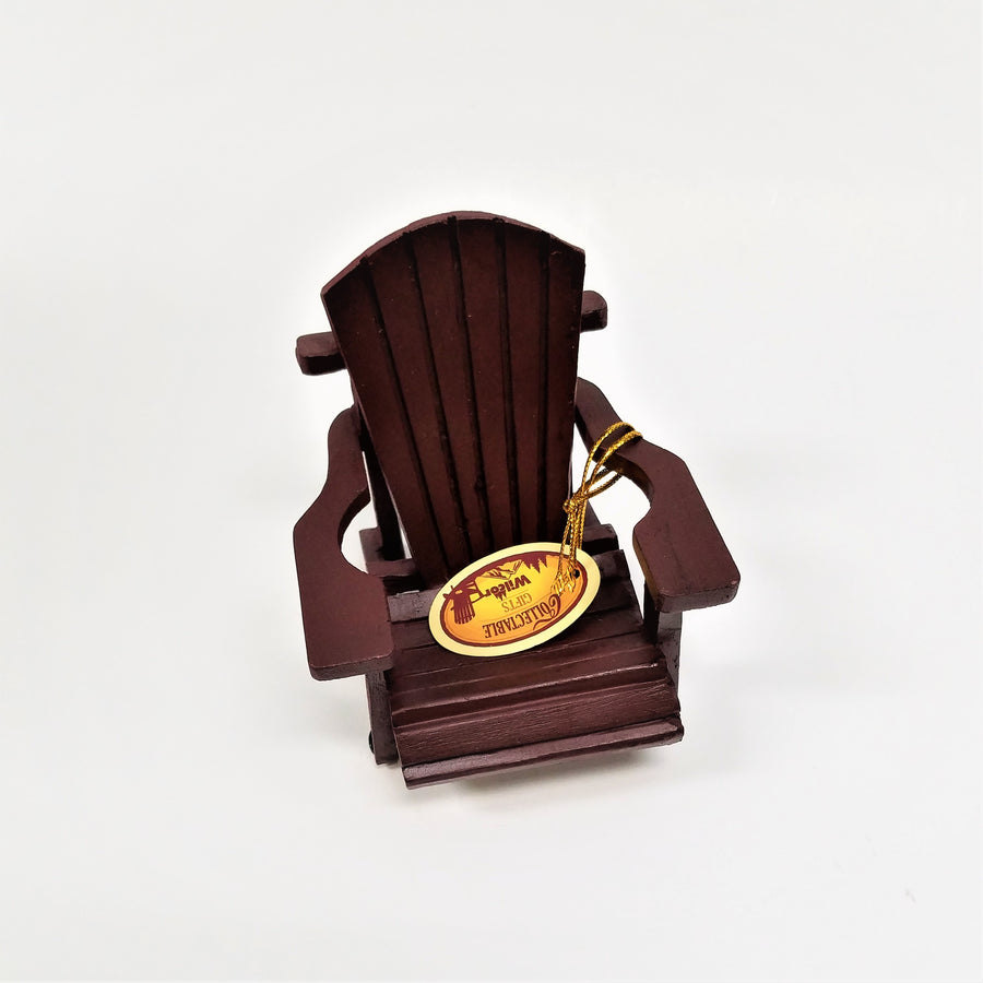 mini deep maroon Adirondack chair with manufacturer's label on seat