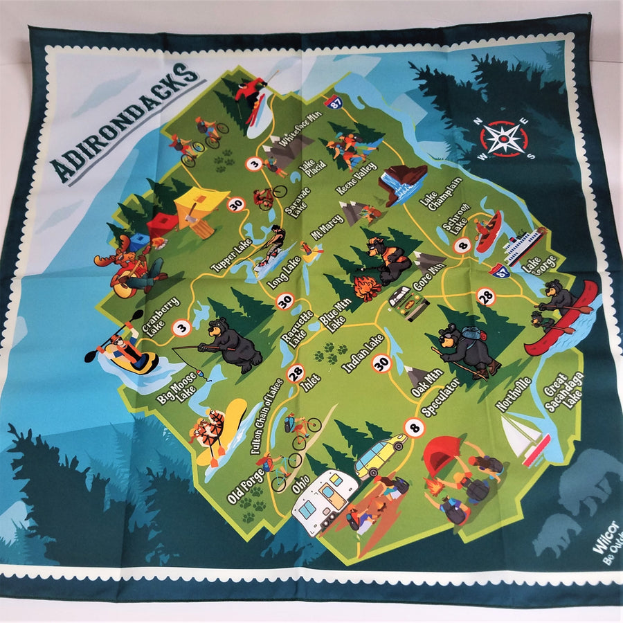Adirondack bandana stretched out flat to display the whole Adirondack Park using fun and colorful icons illustrating recreational activities.