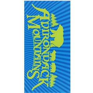 Two-tone shades of blue coming out of bright green silhouettes of bears and mountains over bright green lettering: Adirondack Mountains on rectangular towel