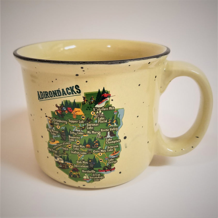 Cream-colored speckeld mug facing with handle on right side and colorful Adirondack Park map in center of mug.