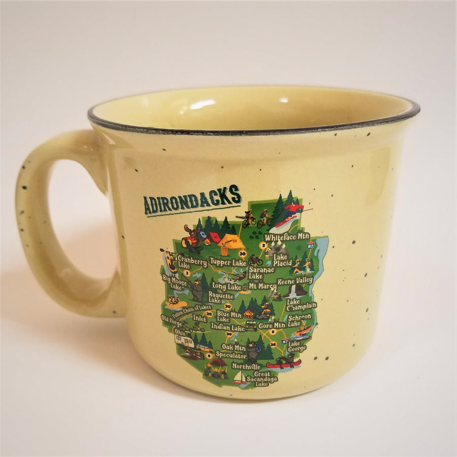 Cream-colored speckeld mug facing with handle on left side and colorful Adirondack Park map in center of mug.
