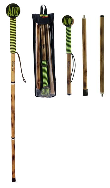 View of walking stick assembled, in 3 pieces in black plastic carry pack, in 3 pieces top, bottom, middle to illustrate how to assemble