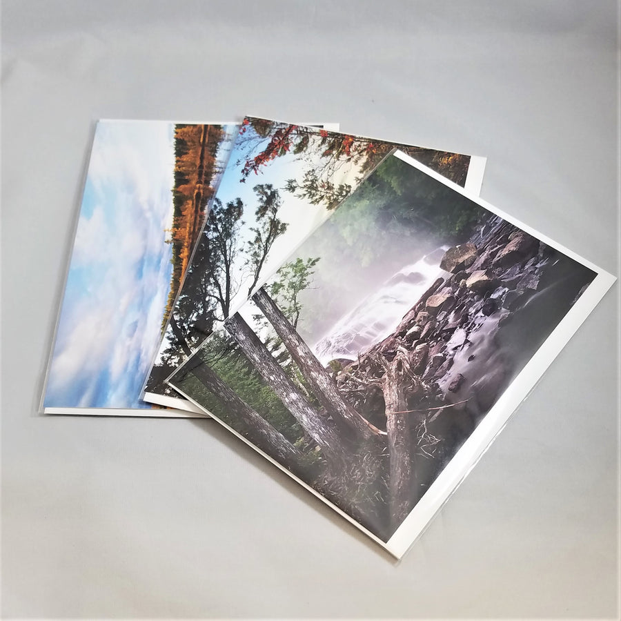 3 Adirondack photo cards by Barry Lobdell fanned out with Buttermilk Falls on top