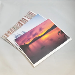 3 fanned Barry Lobdell photo cards with Late August Sunset on top