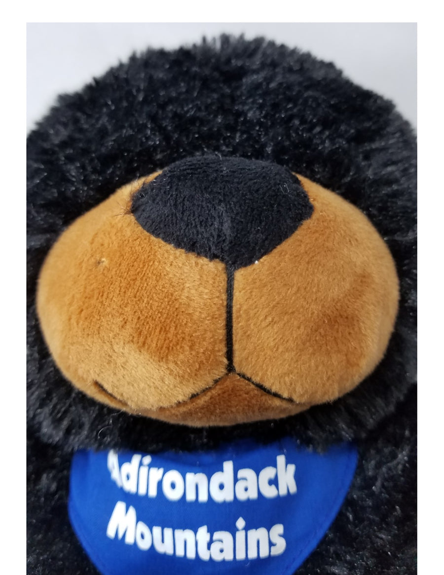 Close up of stuffed black bear beige snout and blue neckerchief with white Adirondack Mountains text