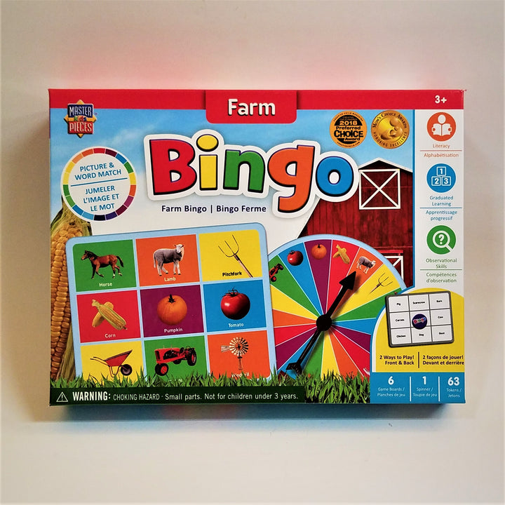 Brightly colored front of Farm Bingo box with a sample card and spinner.