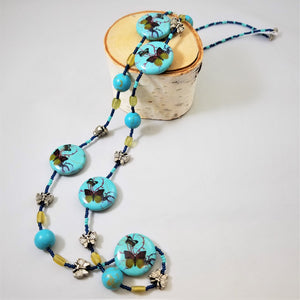 Turqouise Butterfly Bead Necklace