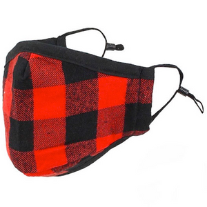Buffalo plaid mask with black straps and a black clasp
