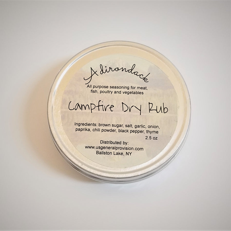 Top of round tin of Adirondack Campfire Dry Rub