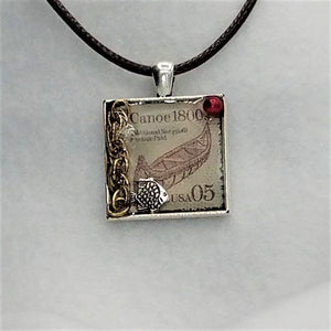 Canoe Stamp Collage Necklace