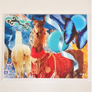 Bright red on a brown llama facing forward, the back of a white llama, deep blue butterfly, light blue circles, and light blue ribbon, other blue and green patterns in this art collage card.