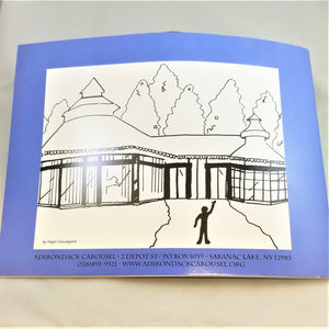 Back cover of book featuring black and white rendition of the outside of the Adirondack Carousel