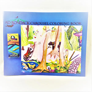 Cover of the book featuring a colorful rendition of student drawing of Adirondack woodland animals