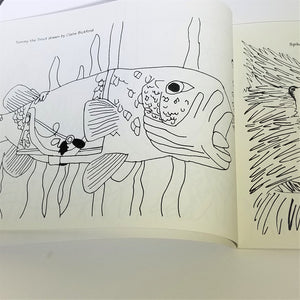 Page from inside the book featuring an Adirondack fish
