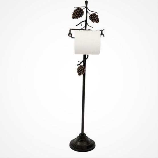 Upright Pine Cone Toilet Paper Holder