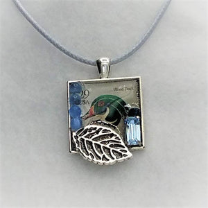Wood Duck Stamp Collage Necklace