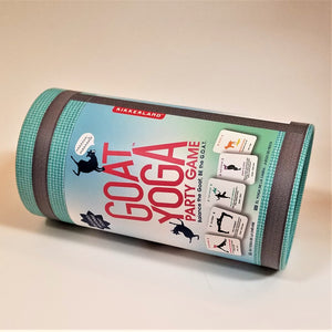 Goat Yoga Party Game cylinder container on its side. Aqua-colored with red type and 5 sample cards depicted.