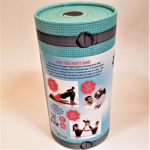 Cylindrical Goat Yoga Party Game container standing upright with the back showing. Text describes how it works with 3 photos showing sample positions.