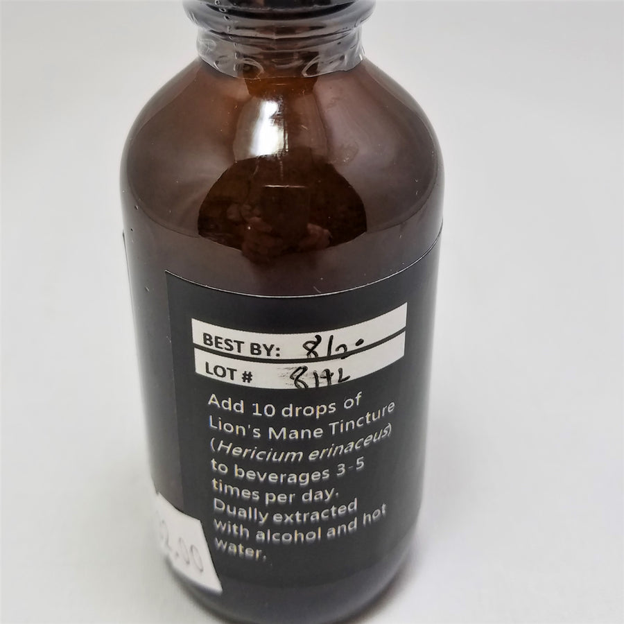 Back label of Birch Boys Lion's Main: Add 10 drops of Lion's Mane Tincture (Hericium erinaceus) to beverages 3-5 times per day. Dually extracted with alcohol and hot water.