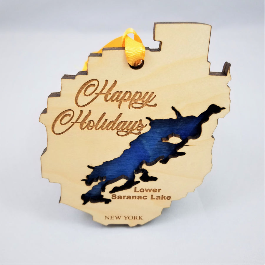 Wooden Blue Line Holiday Ornaments That Bring Home the Adirondack Park