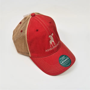 front side view of cap with khaki mesh back and red colored front and brim sporting white moose and lettering with green label on brim