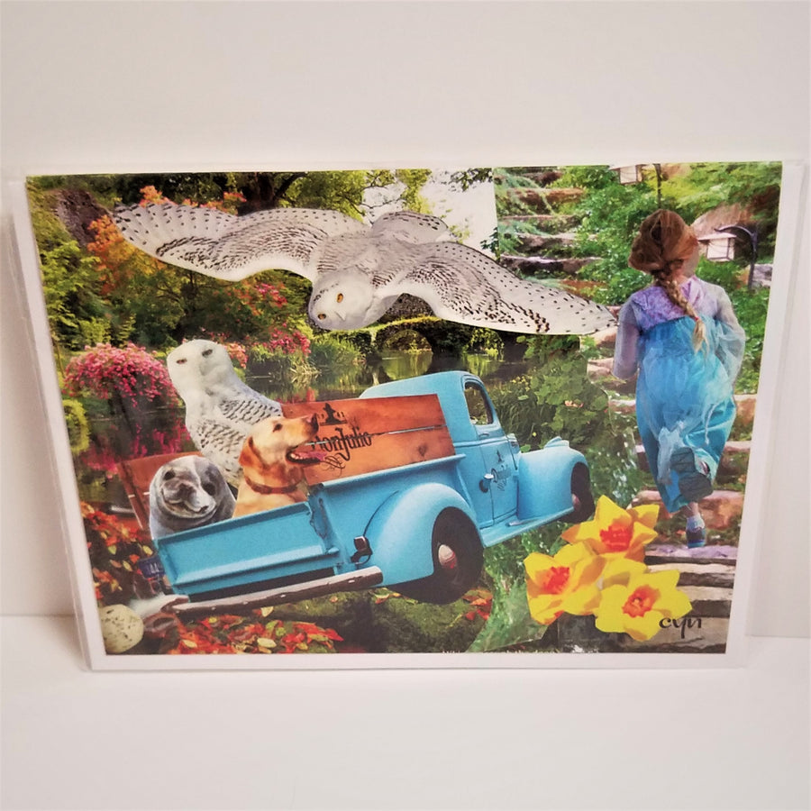 Blue Truck with Owls Collage Card from Cindy Ayres