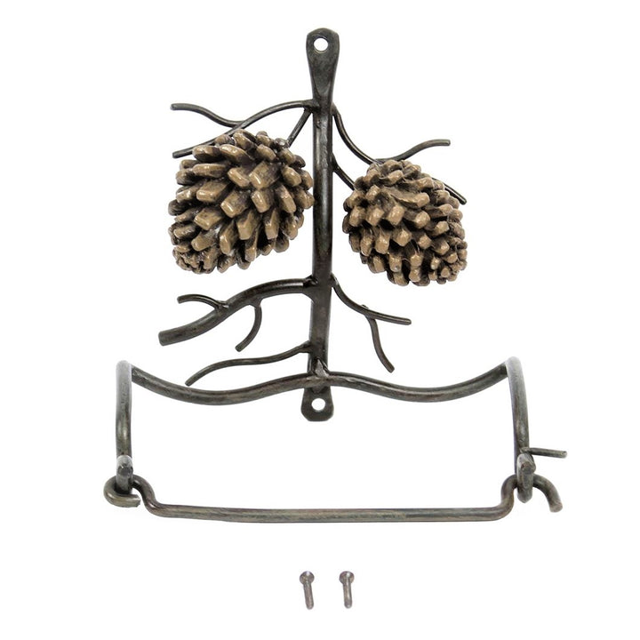 Metal toilet paper holder with two pine cones in vertical position.