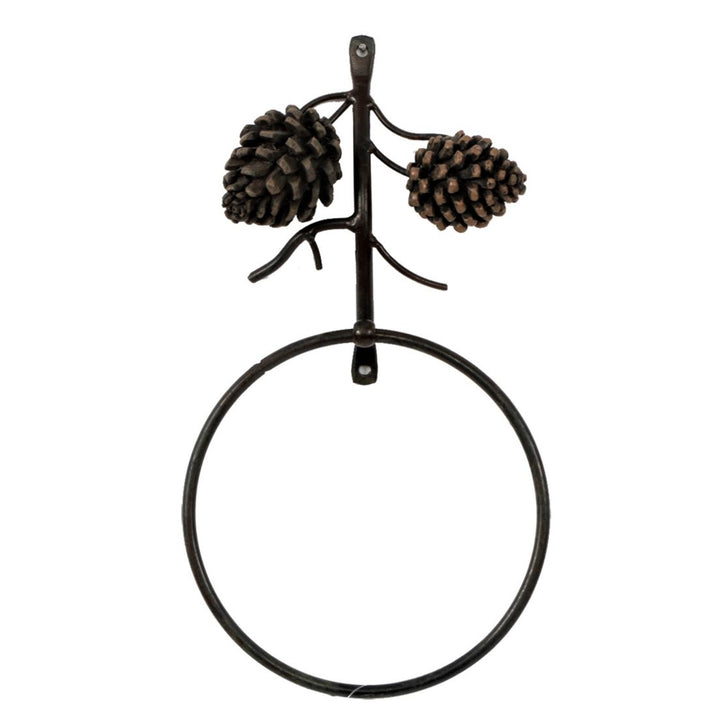 metal towel ring with two metal pine cones at top of fixture, standing upright