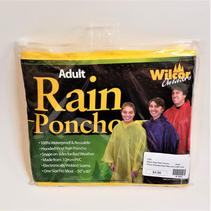 Adult Yellow Rain Poncho front of package