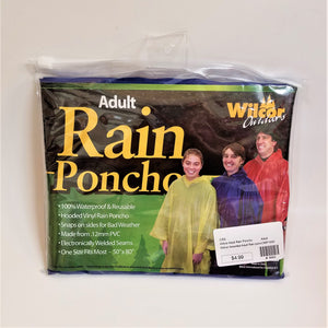Adult blue rain poncho front of packaging
