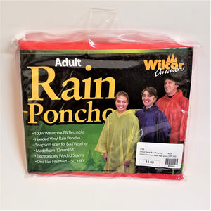 Adult red rain poncho front of packaging